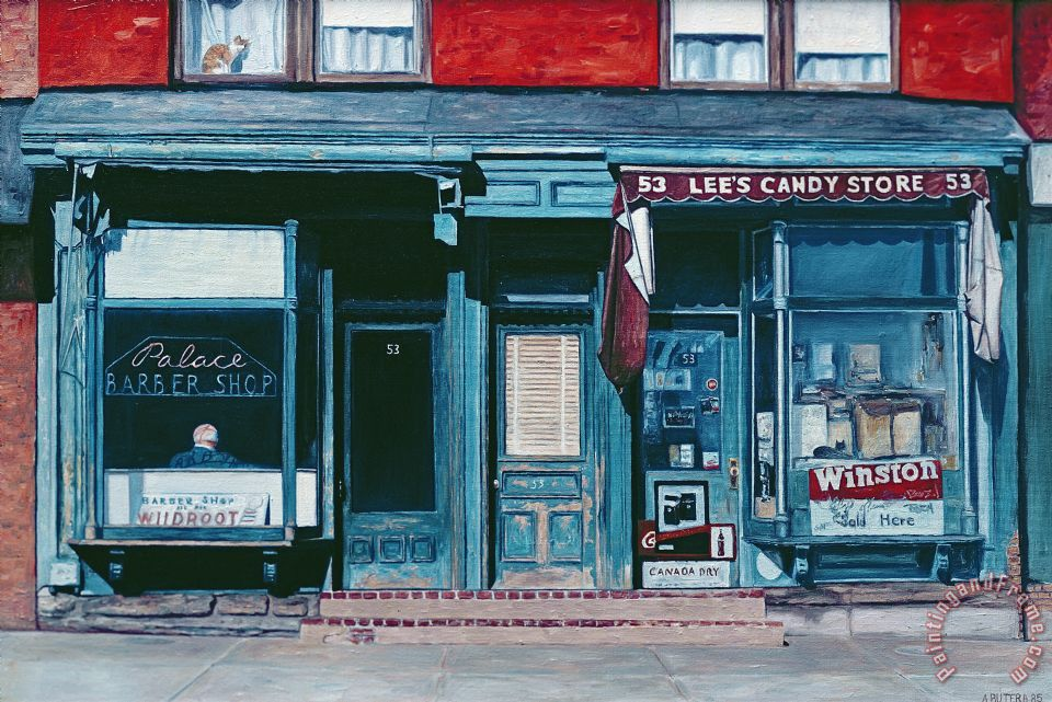 Anthony Butera Palace Barber Shop And Lees Candy Store Art Print