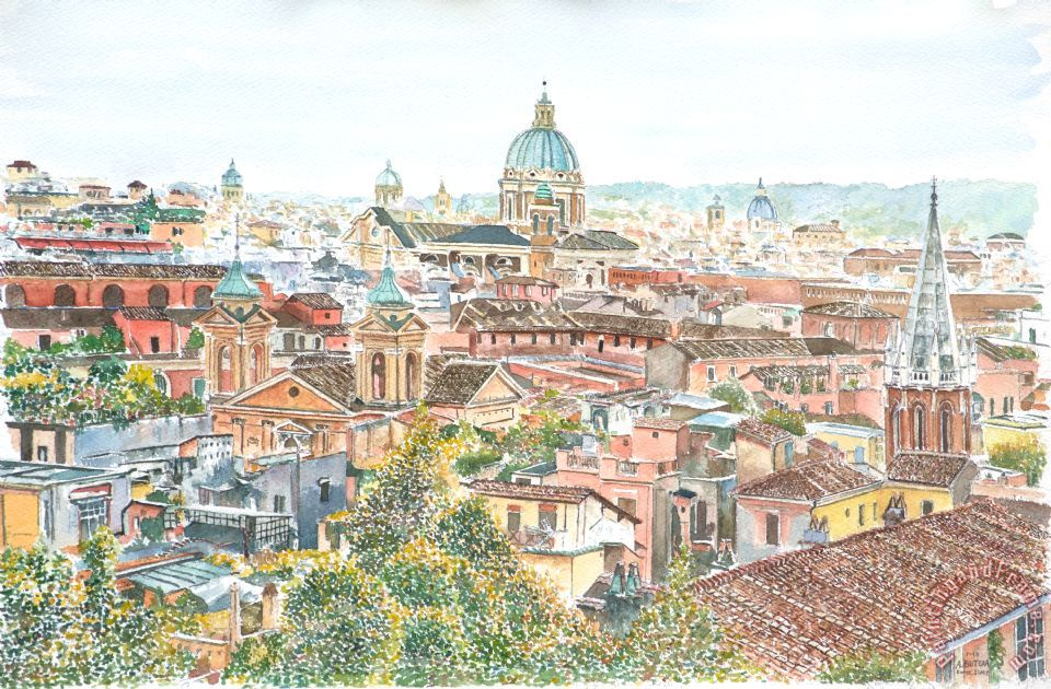 Rome Overview From The Borghese Gardens painting - Anthony Butera Rome Overview From The Borghese Gardens Art Print