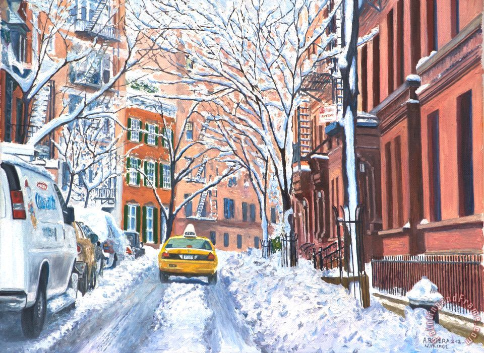 Snow West Village New York City painting - Anthony Butera Snow West Village New York City Art Print