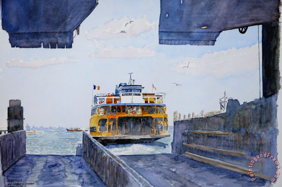 Staten Island Ferry Docking painting - Anthony Butera Staten Island Ferry Docking Art Print