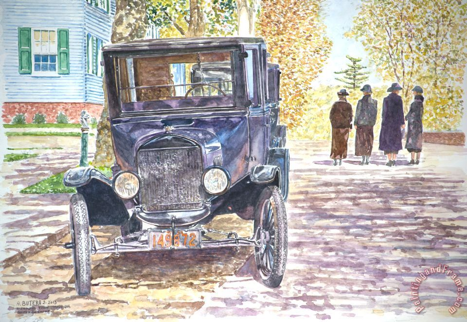 Vintage Car Richmondtown painting - Anthony Butera Vintage Car Richmondtown Art Print