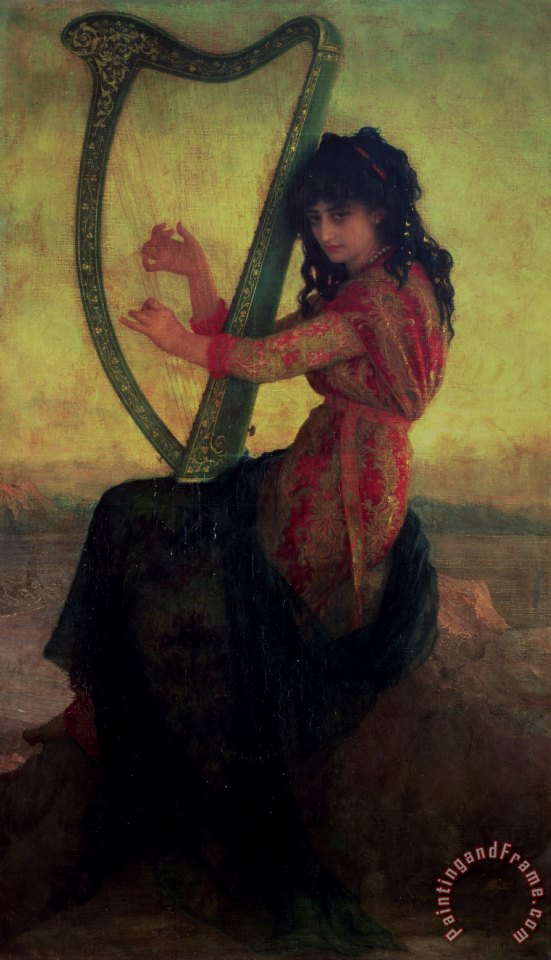 Muse Playing the Harp painting - Antoine Auguste Ernest Hebert Muse Playing the Harp Art Print