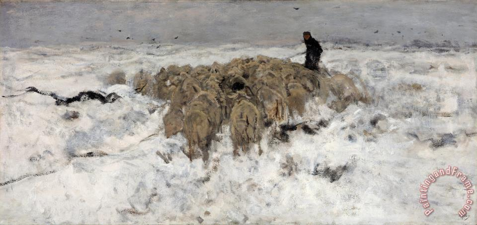 Flock of Sheep with Shepherd in The Snow painting - Anton Mauve Flock of Sheep with Shepherd in The Snow Art Print