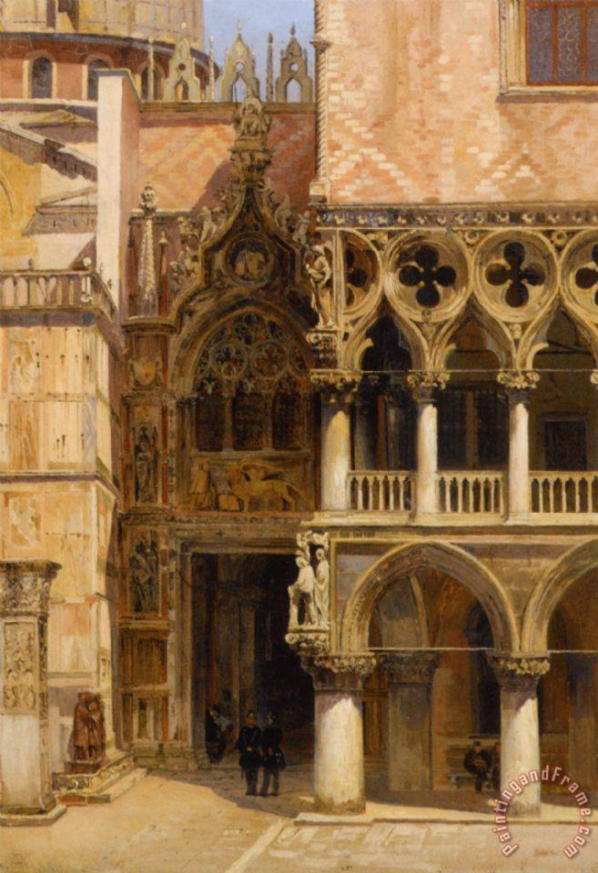 Port Della Carta Doges Palace painting - Antonietta Brandeis Port Della Carta Doges Palace Art Print