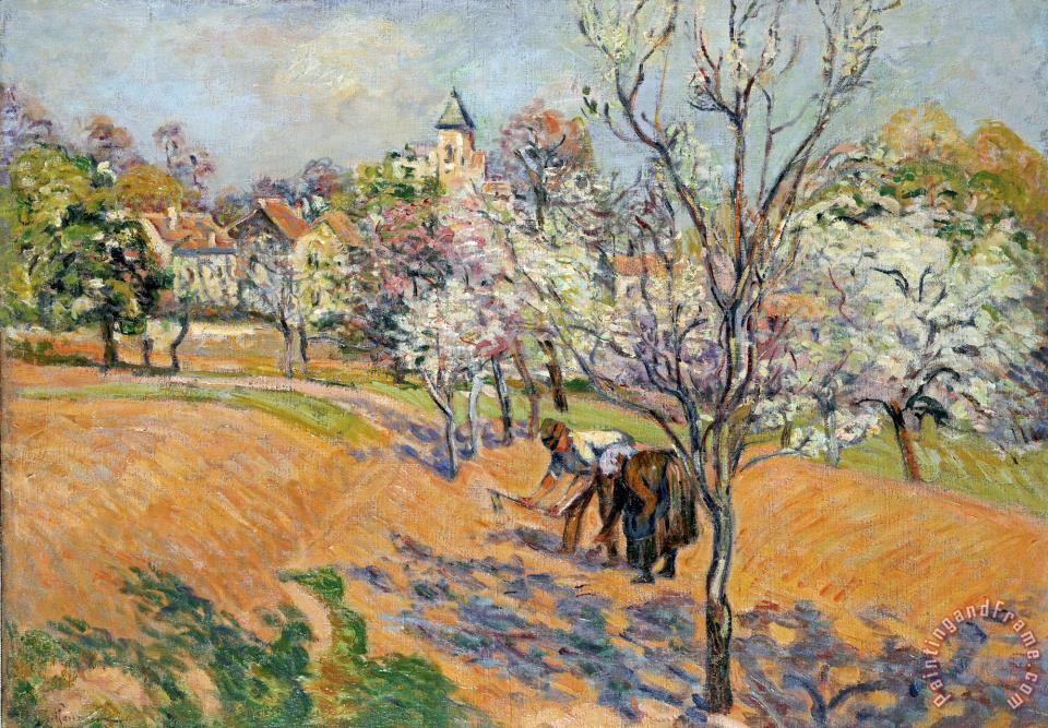 Two Peasants Sowing Haricots in an Orchard in Blossom painting - Armand Guillaumin Two Peasants Sowing Haricots in an Orchard in Blossom Art Print