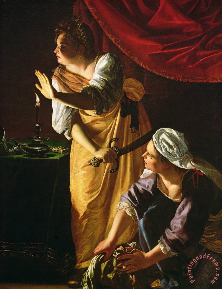 Judith and Maidservant with the Head of Holofernes painting - Artemisia Gentileschi Judith and Maidservant with the Head of Holofernes Art Print