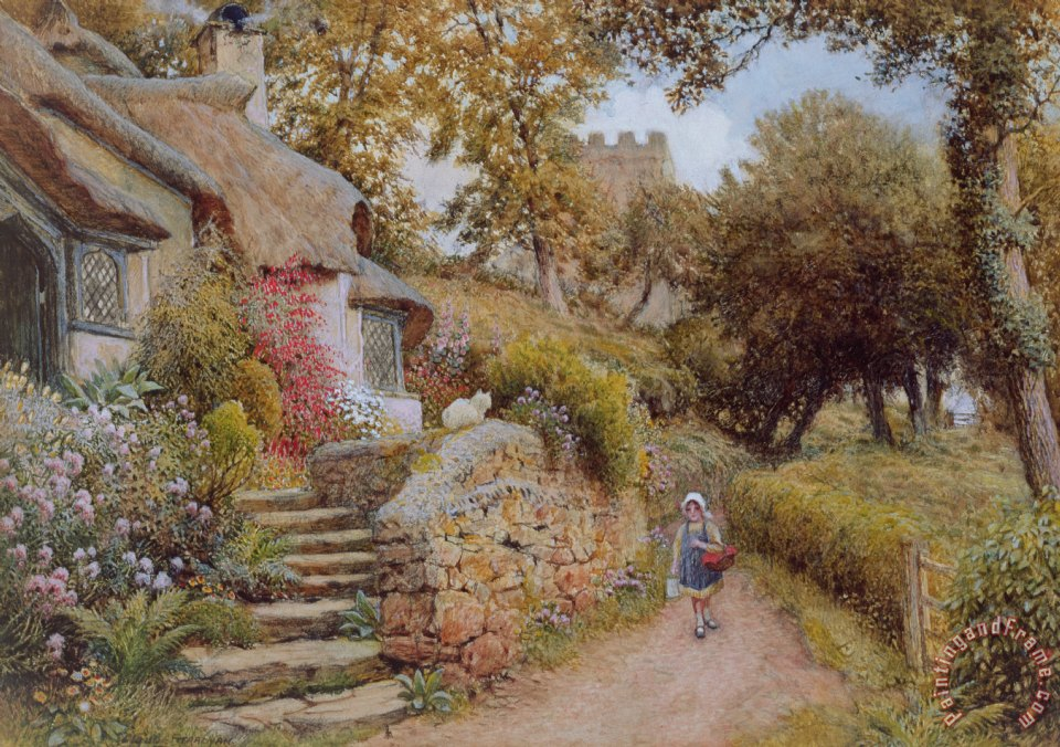 Arthur Claude Strachan A Country Lane Art Painting For