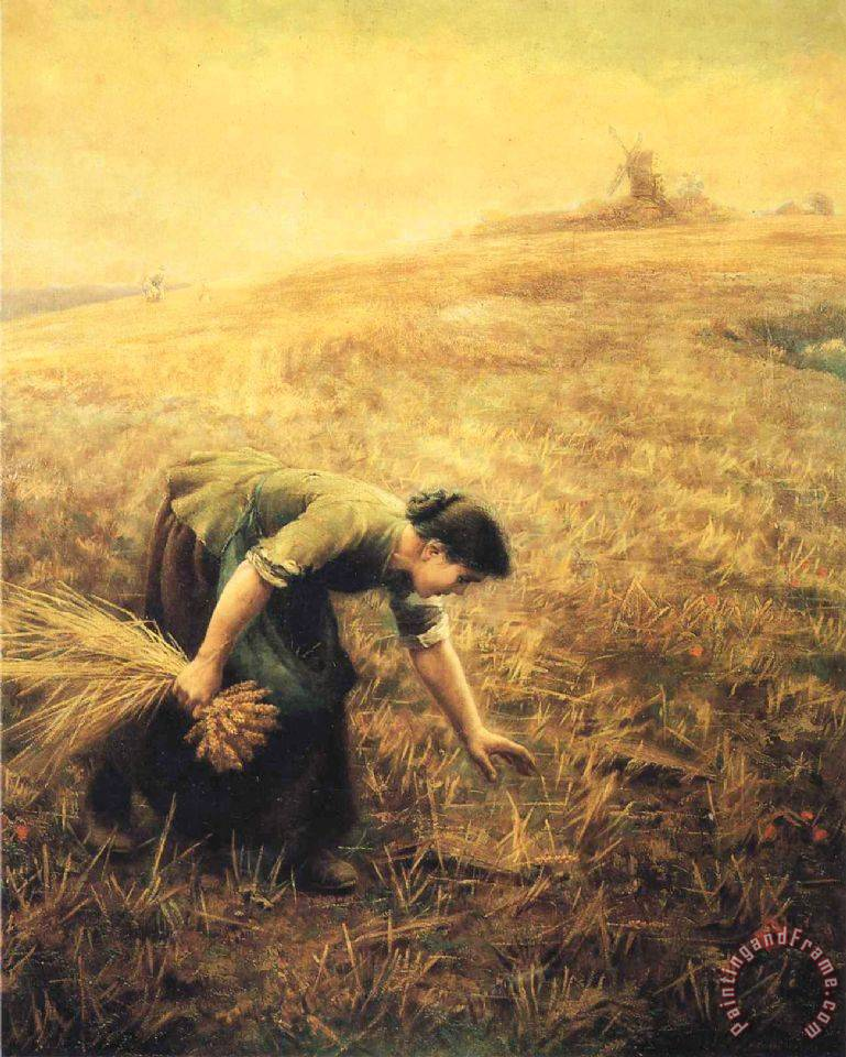 Gleaning painting - Arthur Hughes Gleaning Art Print
