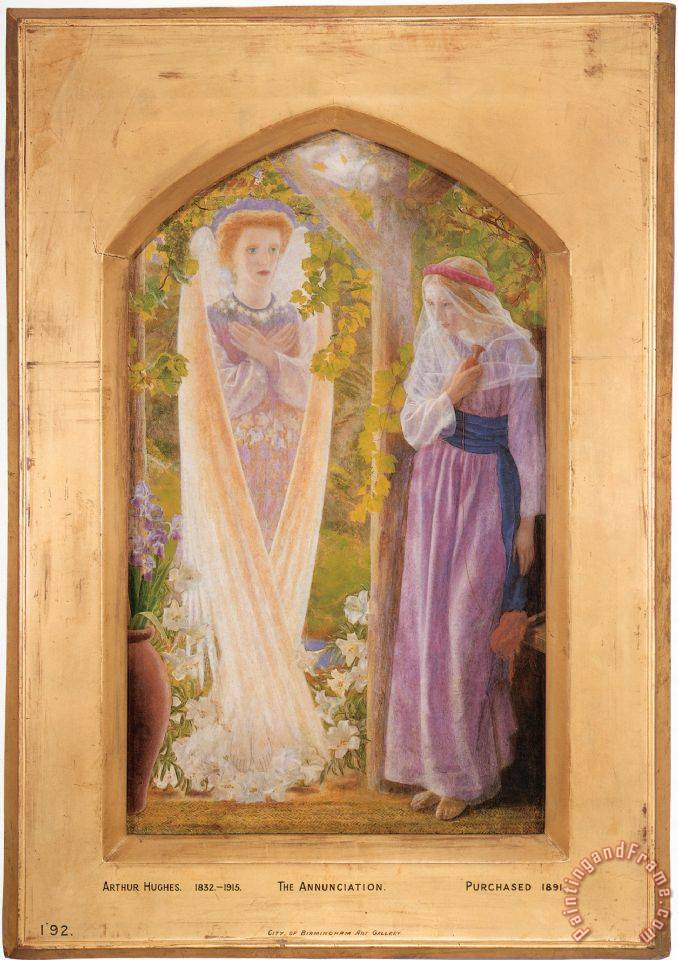 The Annunciation painting - Arthur Hughes The Annunciation Art Print