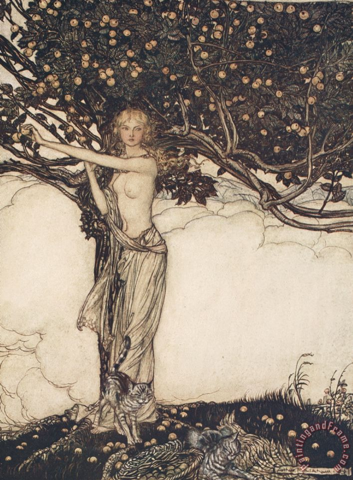 Freia The Fair One Illustration From The Rhinegold And The Valkyrie painting - Arthur Rackham Freia The Fair One Illustration From The Rhinegold And The Valkyrie Art Print