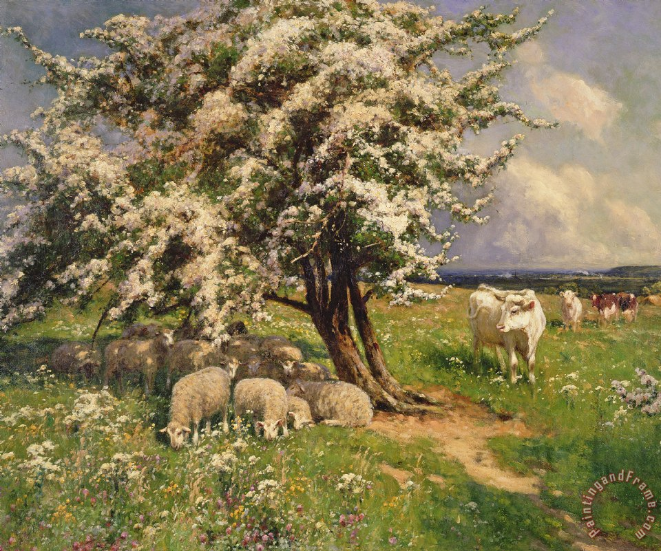Sheep And Cattle In A Landscape painting - Arthur Walker Redgate Sheep And Cattle In A Landscape Art Print