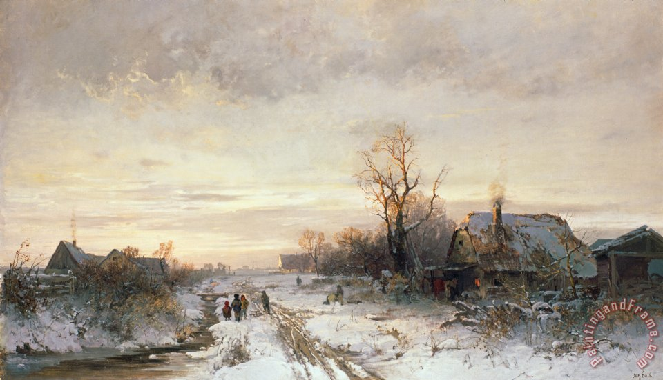 Children playing in a winter landscape painting - August Fink Children playing in a winter landscape Art Print