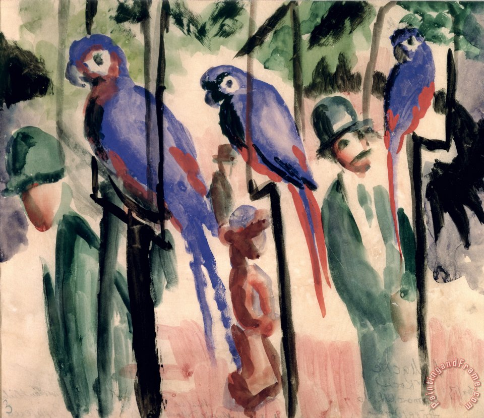 Blue Parrots painting - August Macke Blue Parrots Art Print