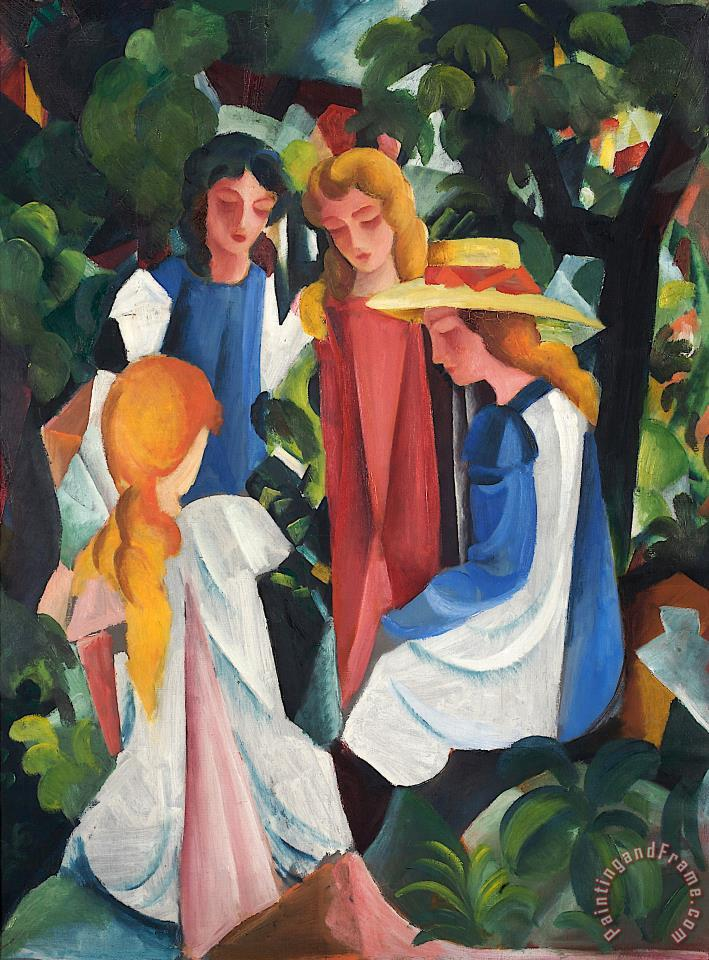 August Macke Four Girls Art Print