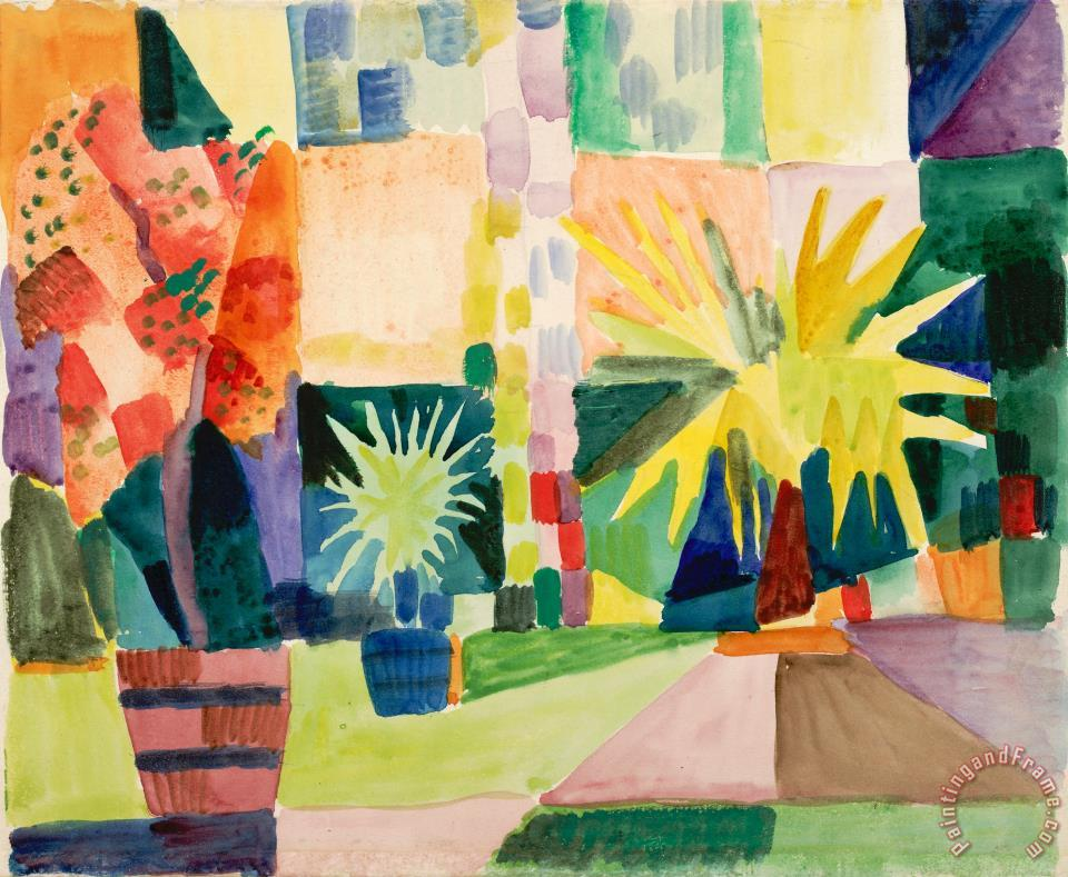 Garden on Lake Thun (pomegranate Tree And Palm in The Garden), 1914 painting - August Macke Garden on Lake Thun (pomegranate Tree And Palm in The Garden), 1914 Art Print