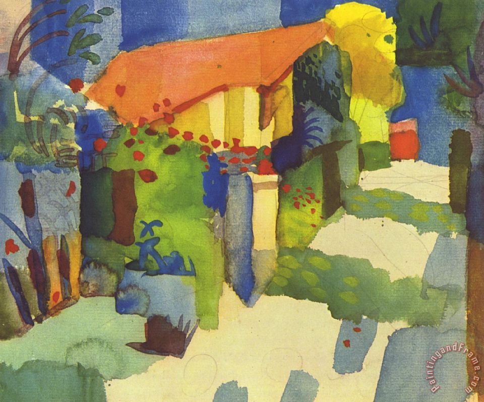 House In The Garden painting - August Macke House In The Garden Art Print