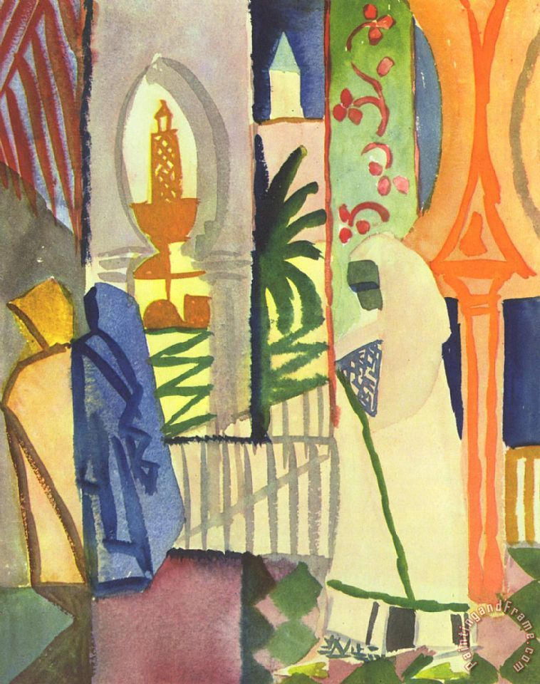 In The Temple Hall painting - August Macke In The Temple Hall Art Print