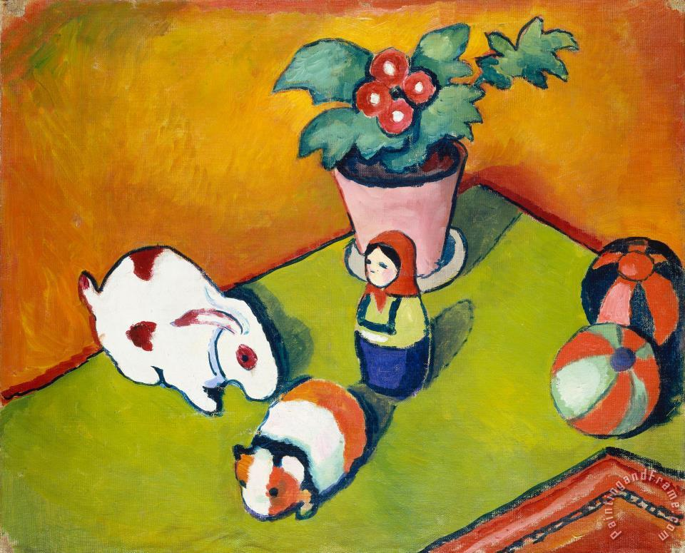 Little Walter's Toys painting - August Macke Little Walter's Toys Art Print