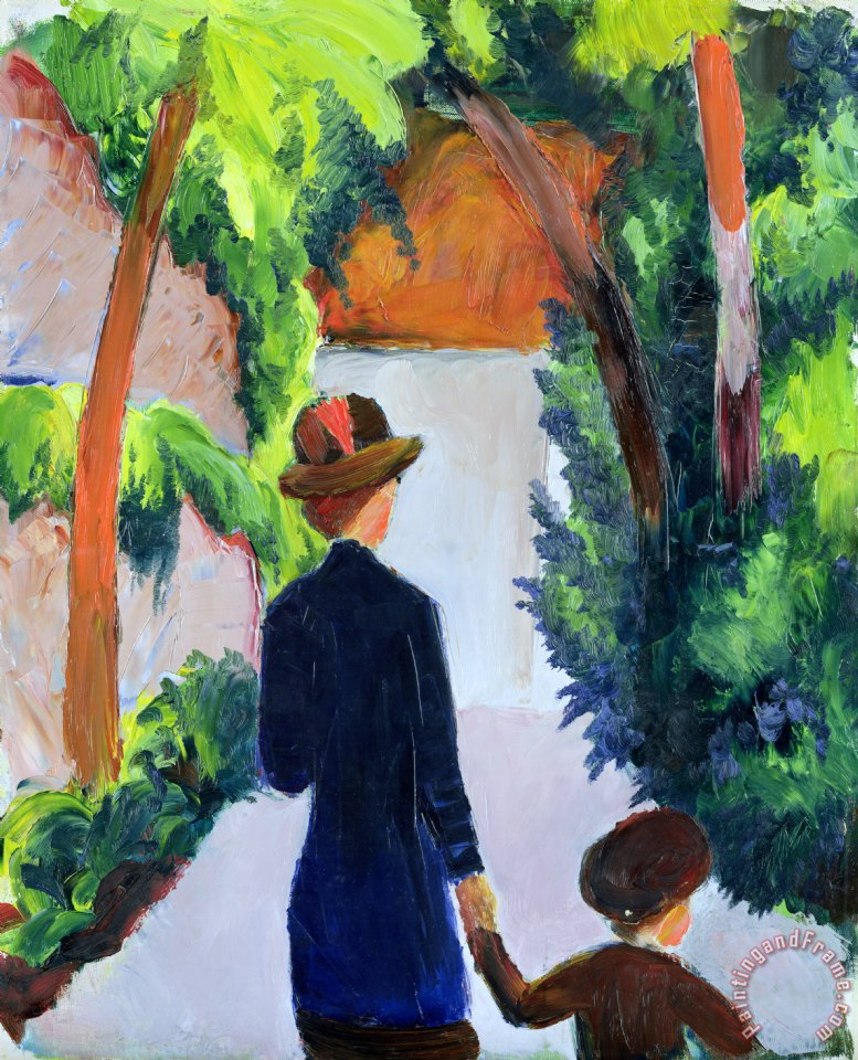 August Macke Mother and Child in the Park Art Print