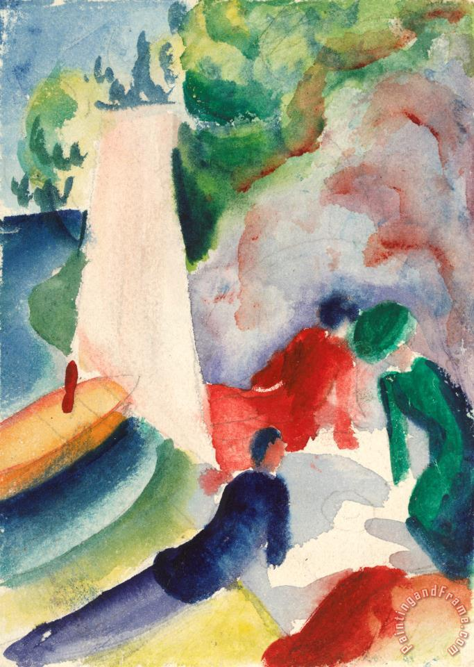 August Macke Picnic on The Beach (picnic After Sailing), 1913 Art Print