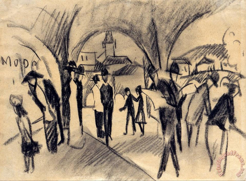 Scene Under The Arcades in Thun painting - August Macke Scene Under The Arcades in Thun Art Print