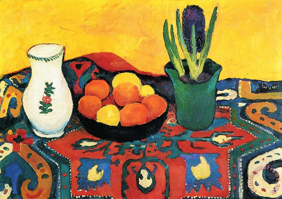 Still Life Hyacinths Carpet painting - August Macke Still Life Hyacinths Carpet Art Print