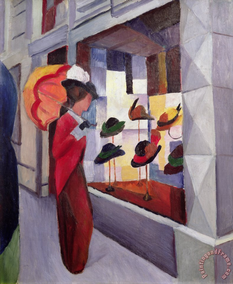 The Hat Shop painting - August Macke The Hat Shop Art Print