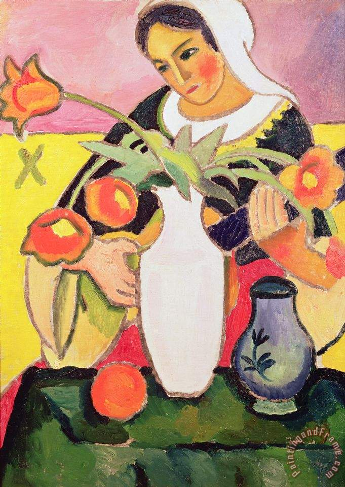 The Lute Player painting - August Macke The Lute Player Art Print