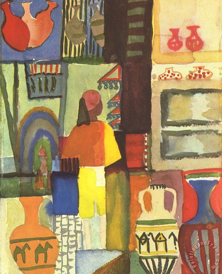 August Macke Tunisian Market Art Print