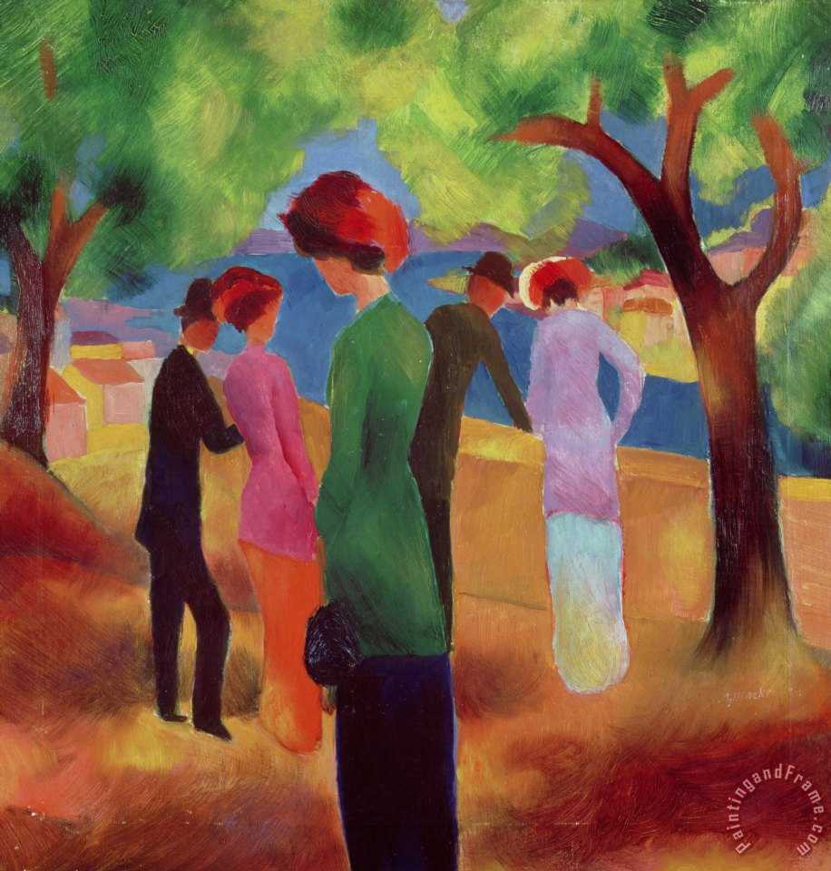 Woman in a Green Jacket painting - August Macke Woman in a Green Jacket Art Print