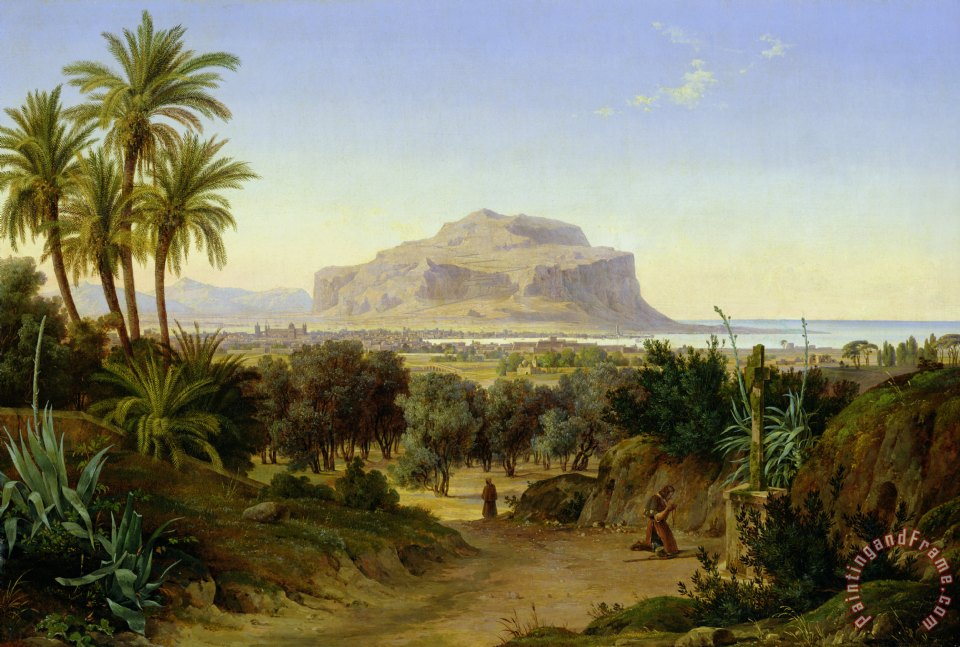 August Wilhelm Julius Ahlborn View of Palermo with Mount Pellegrino Art Painting