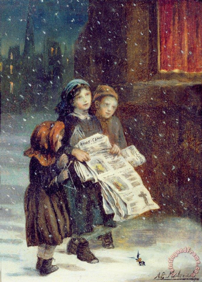 Beach Christmas Cards >> Augustus Edward Mulready Carols for Sale painting - Carols ...
