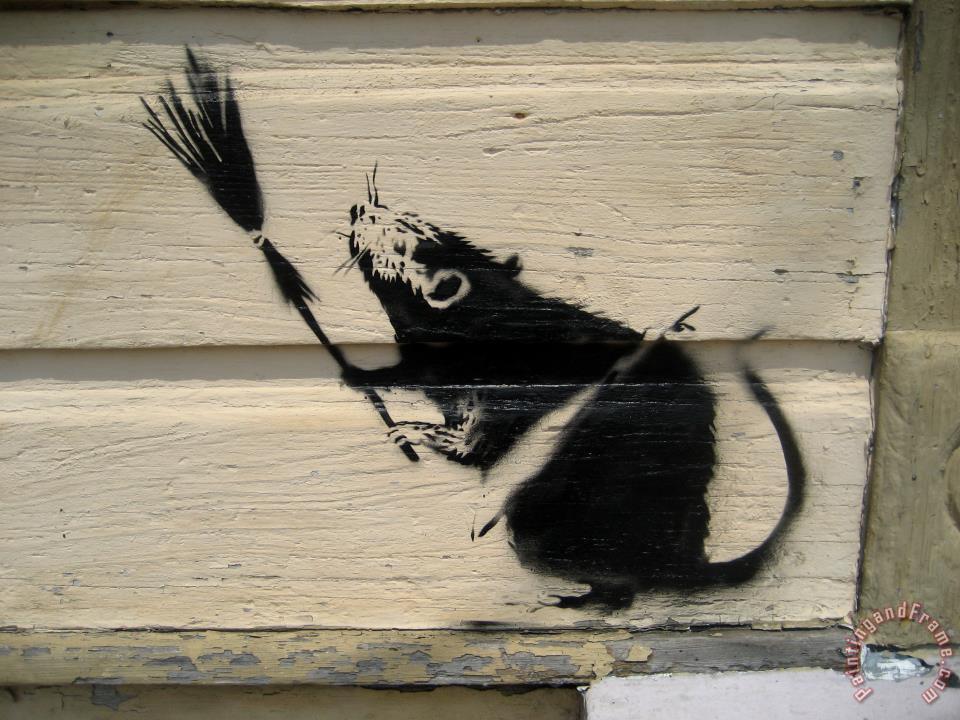 Banksy banksy broom rat new orleans painting banksy for Banksy rat mural