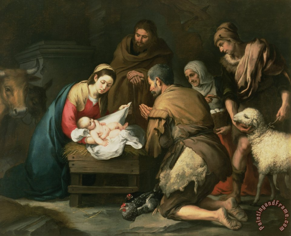 The Adoration of the Shepherds painting - Bartolome Esteban Murillo The Adoration of the Shepherds Art Print