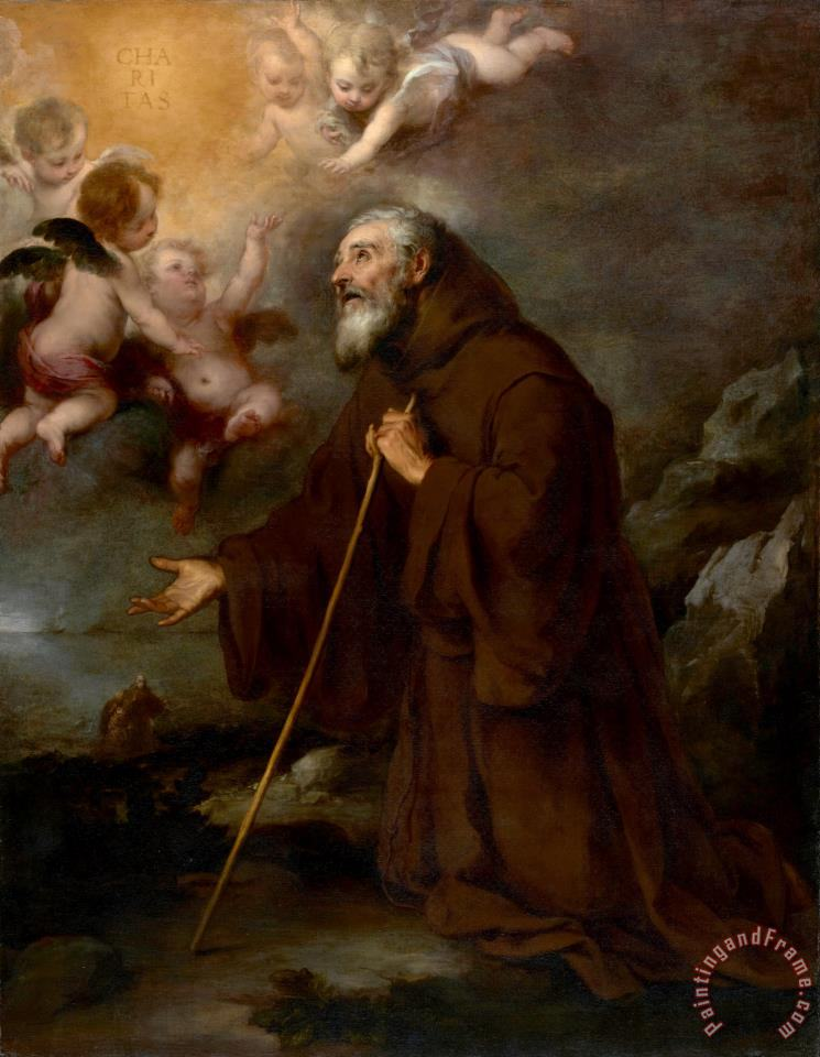 The Vision of Saint Francis of Paola painting - Bartolome Esteban Murillo The Vision of Saint Francis of Paola Art Print