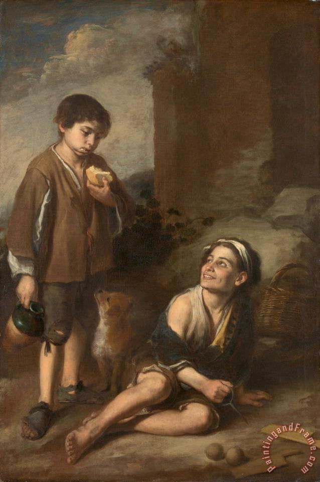 Two Peasant Boys painting - Bartolome Esteban Murillo Two Peasant Boys Art Print