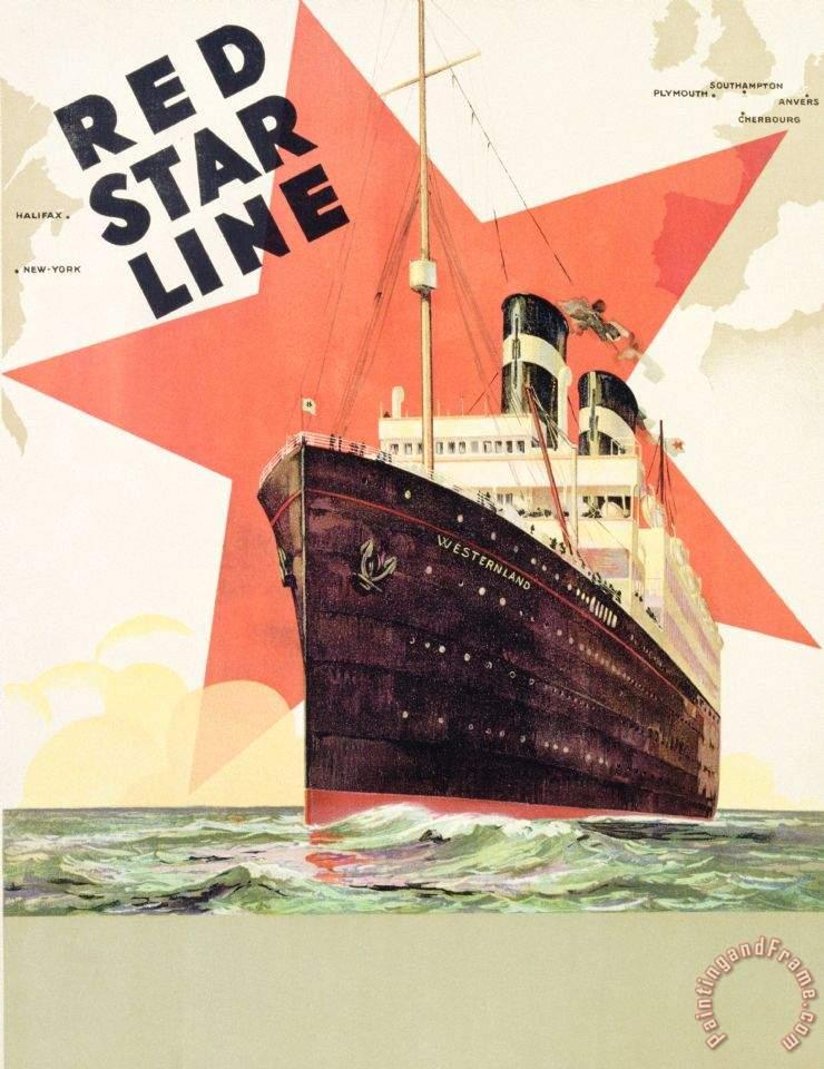 Belgian School Poster Advertising The Red Star Line