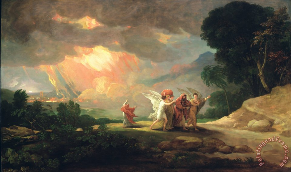 Lot Fleeing from Sodom painting - Benjamin West Lot Fleeing from Sodom Art Print