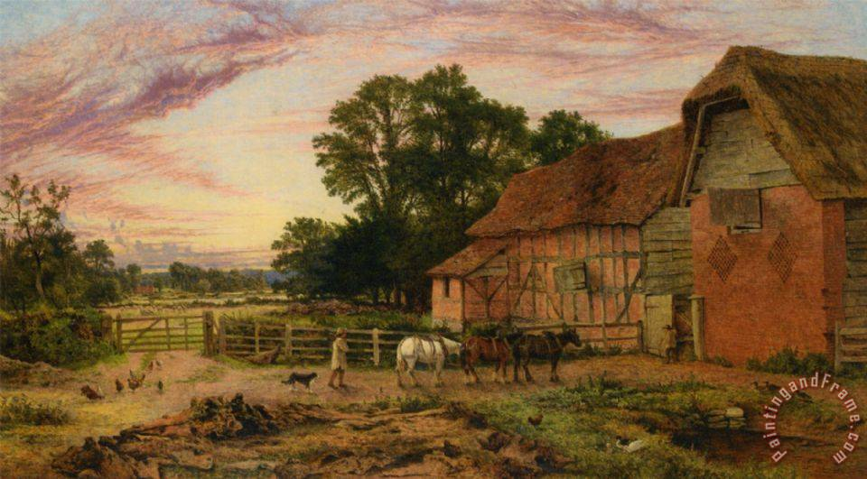 Evening Return to The Homestead painting - Benjamin Williams Leader Evening Return to The Homestead Art Print