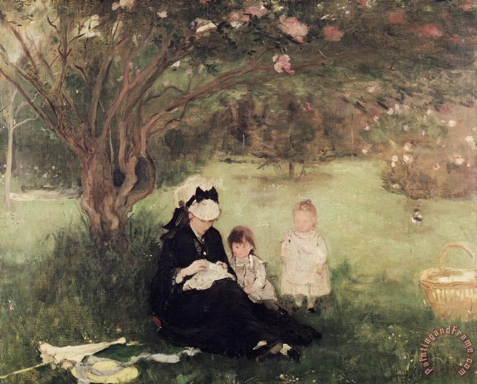 Beneath the Lilac at Maurecourt painting - Berthe Morisot Beneath the Lilac at Maurecourt Art Print
