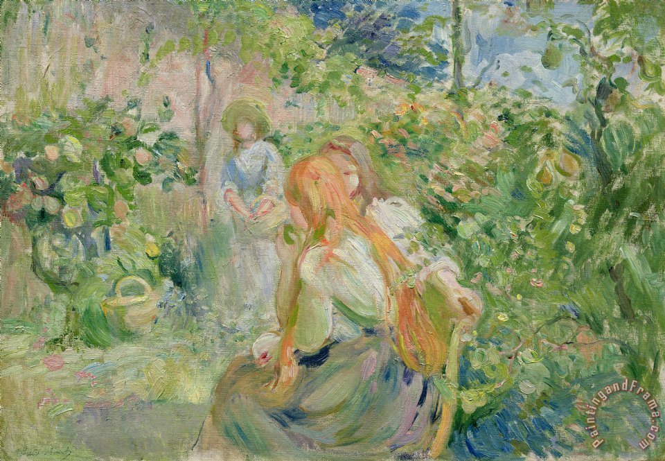 Berthe Morisot In the Garden at Roche Plate Art Print