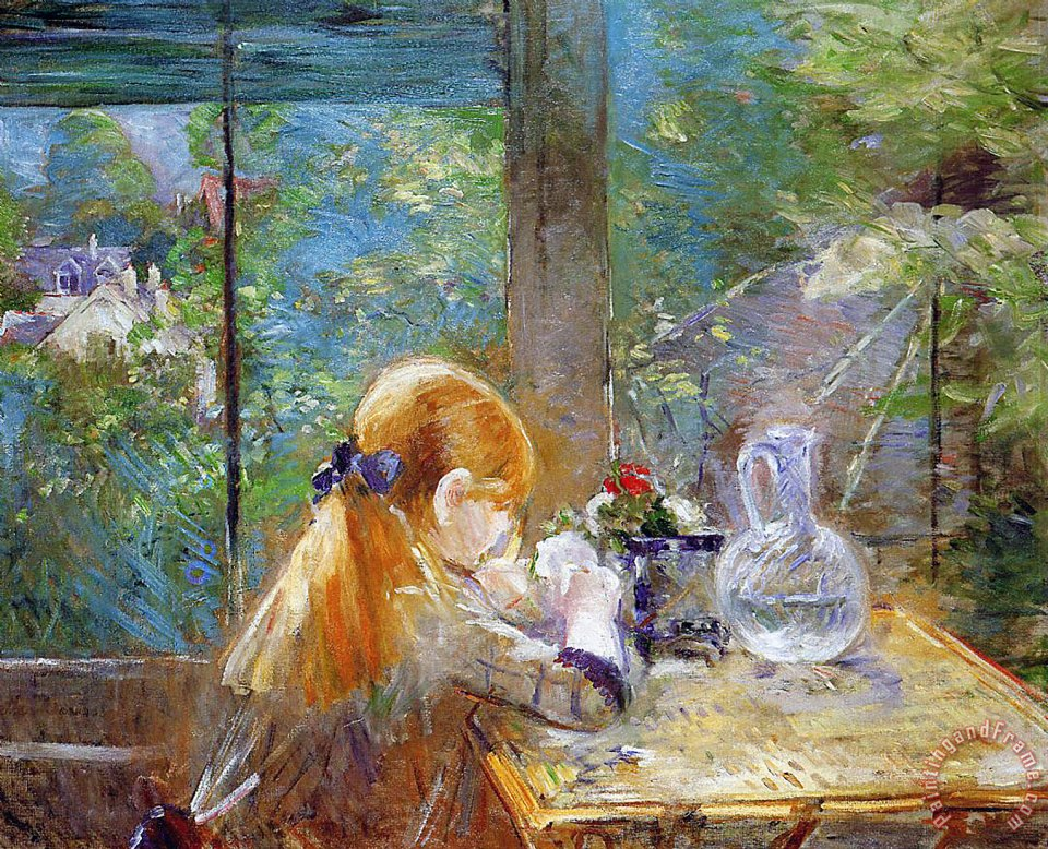 Red-haired girl sitting on a veranda painting - Berthe Morisot Red-haired girl sitting on a veranda Art Print