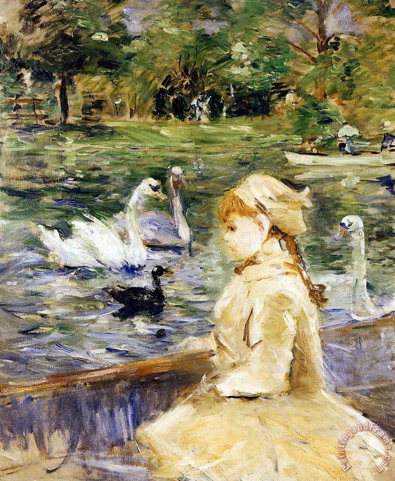 Berthe Morisot Young girl boating Art Print