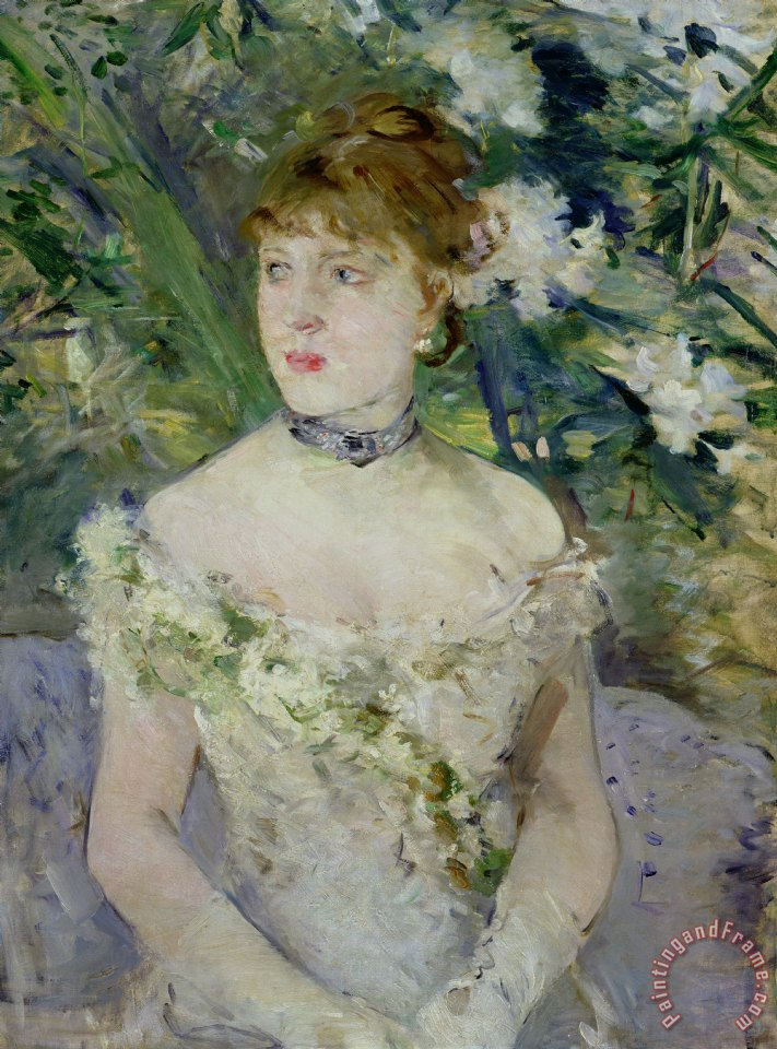 Young girl in a ball gown painting - Berthe Morisot Young girl in a ball gown Art Print