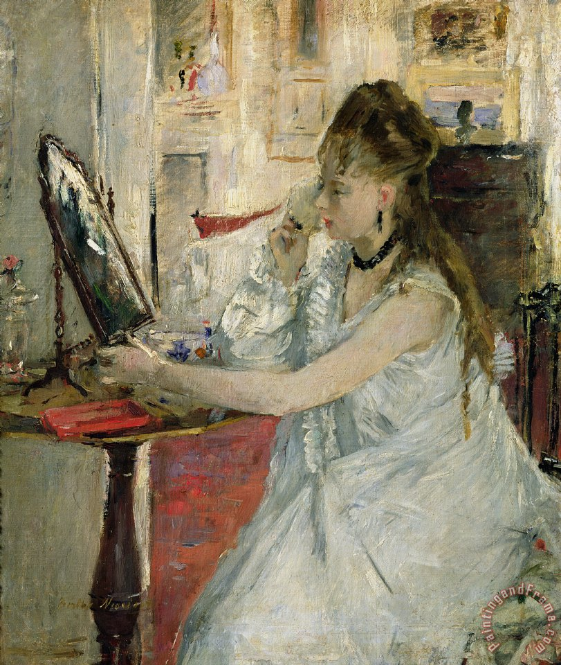 Young Woman Powdering her Face painting - Berthe Morisot Young Woman Powdering her Face Art Print