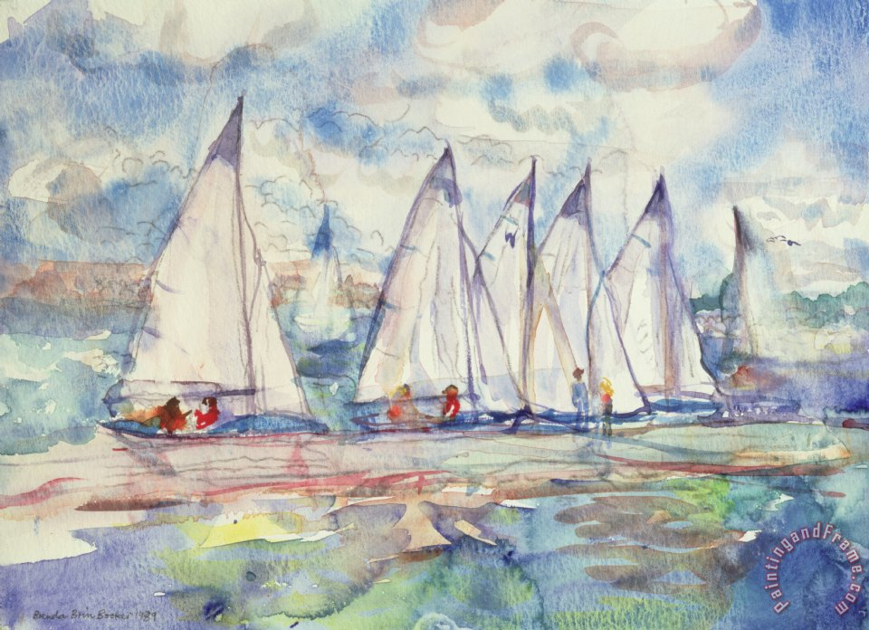 Brenda Brin Booker Blue Sailboats Art Print