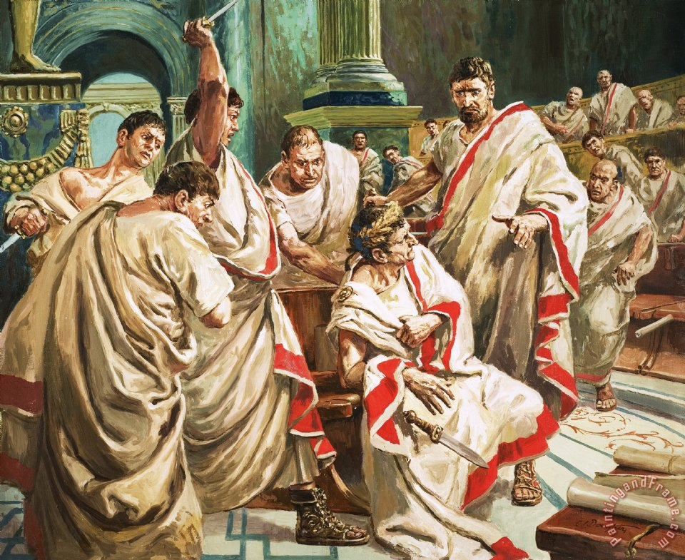 The death of Julius Caesar painting - C L Doughty The death of Julius Caesar Art Print