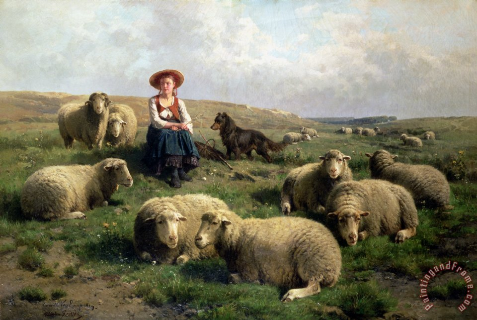 Shepherdess with Sheep in a Landscape painting - C Leemputten and T Gerard Shepherdess with Sheep in a Landscape Art Print