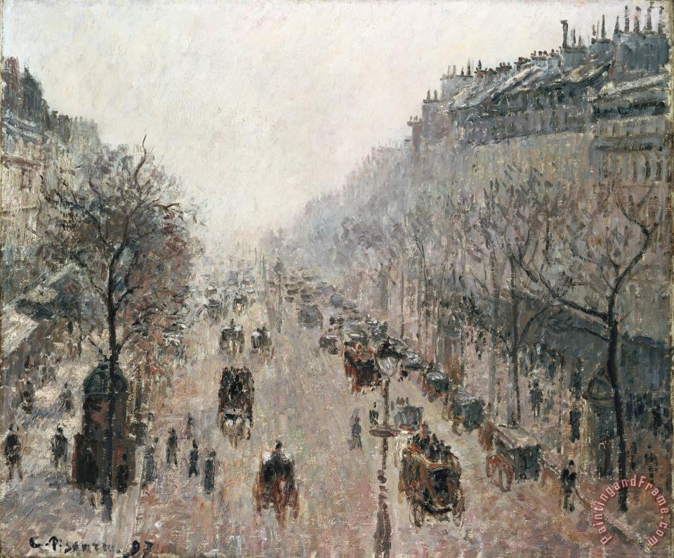 camille pissarro boulevard montmartre on a sunny foggy morning painting boulevard montmartre. Black Bedroom Furniture Sets. Home Design Ideas