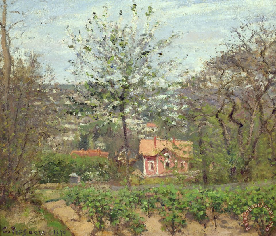 camille pissarro la maison rose painting la maison rose print for sale. Black Bedroom Furniture Sets. Home Design Ideas